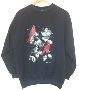 Vintage Weekend Edition Christmas birds sweater S